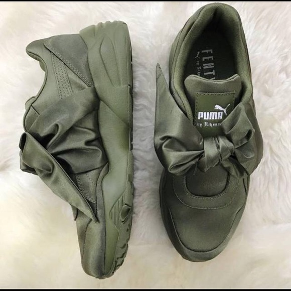 differently e488a 669a4 Rihanna Puma Fenty Bow Sneakers Olive 8.5- Used